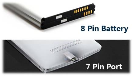 8 Pin Battery and 7 Pin Port