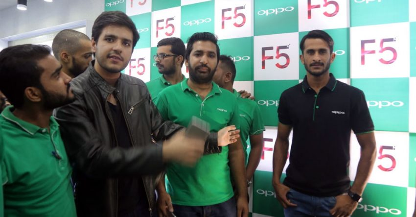 Hassan Ali at OPPO Retail Store Lahore