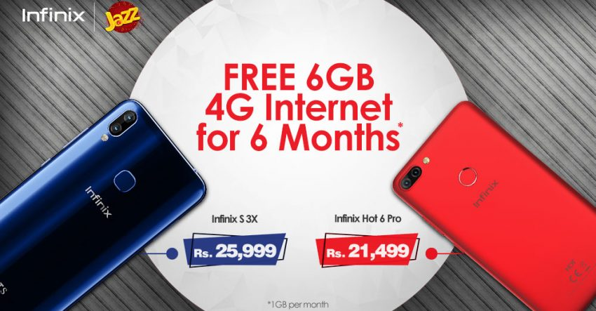 Jazz free internet with Infinix S3X or Hot 6 Pro